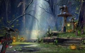 Картинка лес, ночь, домик