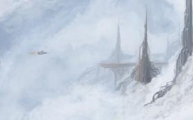 Картинка небо, город, корабль, высота, арт, башни