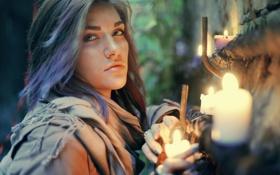 Картинка взгляд, девушка, свечи, свечки