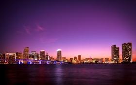 Обои Майами, вечер, огни, Флорида, Miami, City, florida