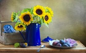 Обои тарелка, ложка, сливы, желтые, подсолнухи, стол, цветы