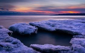 Картинка закат, лёд, снег, зима