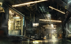 Обои concept art, киберпанк, арт, ночь, Deus Ex: Mankind Divided, улица