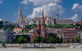 Картинка река, дома, собор, Венгрия, Будапешт, Дунай, Буда
