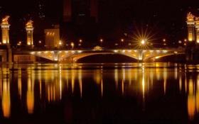 Картинка ночь, мост, огни, отражение, Город, панорама