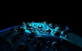 Обои темнота, отражение, волны, шары, объём