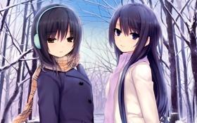 Картинка зима, снег, парк, аниме, девочка, Girls und Panzer