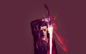 Обои меч, очки, куртка, плазма