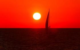 Обои море, небо, солнце, закат, лодка, яхта, парус
