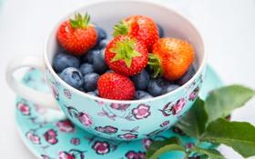 Картинка лето, листья, ягоды, черника, клубника, чашка, блюдце