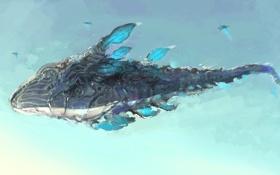 Обои полет, фантастика, рыба, существо, арт, кит, в небе