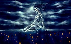 Картинка девушка, облака, ночь, огни, фон, ветер, свечи