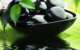 Обои Спа, камни, отражение, чернные