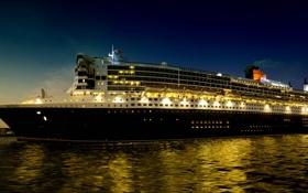 Картинка море, ночь, фото, корабль, круизный лайнер