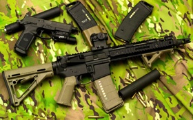 Обои automatic, black, assault rifles