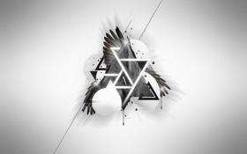 Обои белый, креатив, фон, минимализм, арт, буква, символика