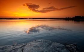 Обои закат, камни, небо, озеро, золотой