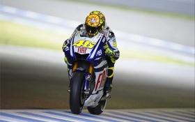 Обои Фото, Скорость, Гонка, Мотоцикл, Yamaha, MotoGP, Valentino Rossi