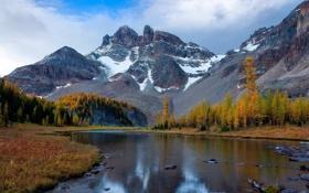 Картинка Canada, river, autumn, mountains, snow
