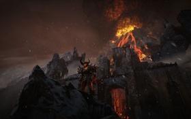 Картинка горы, пламя, вулкан, демон, крепость, unreal engine 4