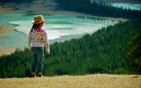 Обои лес, трава, природа, озеро, ребёнок, девочка
