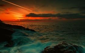 Обои море, пейзаж, закат, природа