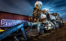 Обои Mystery train, паровоз, ночь