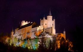 Обои ночь, огни, крепость, Испания, дворец, Алькасар, Сеговия