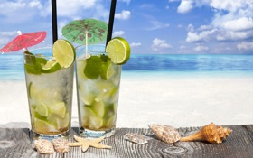 Обои море, пляж, ракушки, beach, sea, drink, mojito