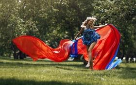 Картинка трава, девушка, радость, шлейф, ножки, photographer, платьице