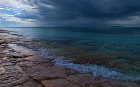 Обои гроза, небо, вода, облака, свет, камни, Берег