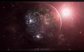 Обои космос, свет, круги, звезда, планета