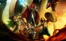 Картинка огонь, варвар, лук, щит, герои, меч, дракон