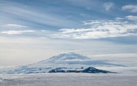 Обои облака, снег, гора