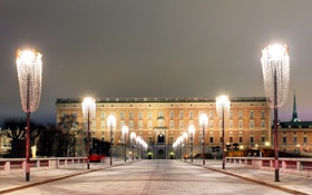 Картинка ночь, огни, фонари, Швеция, дворец, Stockholm