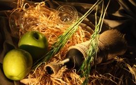 Картинка вино, яблоки, бутылка, бокалы, зеленые, колосья