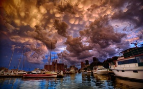 Картинка город, океан, бухта, яхты, лодки