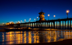 Обои Huntington Beach, пляж, океан, вечер, огни