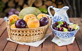 Картинка вишня, ягоды, стол, тарелка, кувшин, фрукты, корзинка