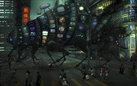 Картинка город, люди, нечто, Улица, мониторы