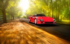Обои скорость, f40, ferrari, красный