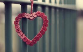 Обои макро, фон, настроения, сердце, красные, пуговицы, сердечко