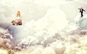 Картинка небо, девушка, облака, улыбка, креатив, мыльные пузыри, блондинка