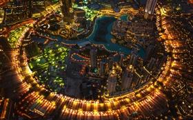 Обои пейзаж, ночь, огни, дома, Дубай, ОАЭ