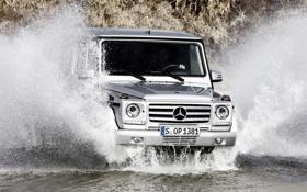 Картинка вода, брызги, Mercedes-Benz, Мерседес, джип, внедорожник, передок