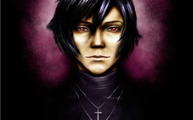 Картинка фон, арт, парень, красные глаза, крестик, Togainu no Chi, Кровь виновной собаки