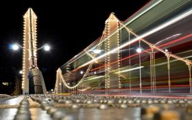 Обои ночь, мост, город, Night Bus