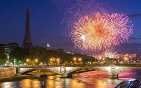 Картинка ночь, мост, город, река, Париж, салют, Paris sunset