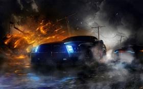 Обои машины, ночь, дождь, тачки, Death Race