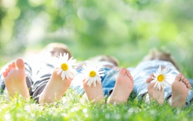 Обои дети, ребенок, боке, трава, цветы
